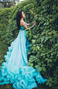 Hot Sale Semi-Sweetheart Cloud Prom Dress Beadings Appliques With Train