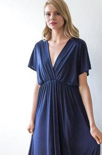 Draped A-line V-neck Gown With Sleeves