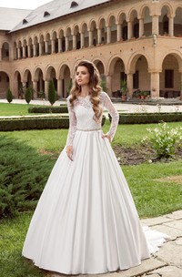 Floor-length Long Sleeve Bateau Satin Dress With Crystal Detailing&V Back