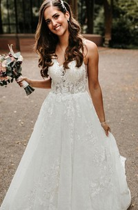 A Line V-neck Lace Floor-length Court Train Sleeveless Wedding Dress with Appliques