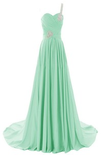 One-shoulder Rhinestoned Ruched A-line Gown With Chapel Train