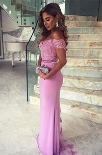 Elegant Lace Appliques Mermaid 2018 Prom Dress Off-the-shoulder Sweep Train
