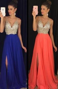Elegant V-Necl Sleeveless Crystal Prom Dresses 2018 Long Chiffon Online