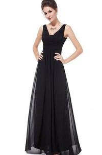 Sleeveless A-line Chiffon Dress With Low V-back