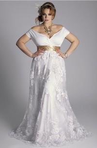 Plus Size Off-Shoulder A-Line Vintage Lace Floor Length Wedding Gown With Sash