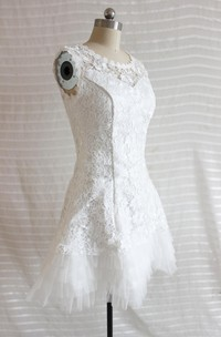 A-Line Short Tulle Lace Satin Weddig Dress