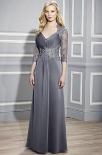 V-Neck 3-4 Sleeve Ruched Jersey Formal Dress