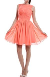 Coral Bridesmaid With Sheer Top Dress
