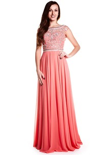 Bateau Neck Crystal Cap Sleeve Chiffon Prom Dress With Keyhole