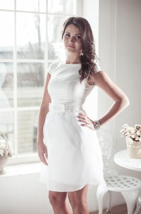 Jewel Cap Sleeve Short Satin Wedding Dress With Sash And Sequins