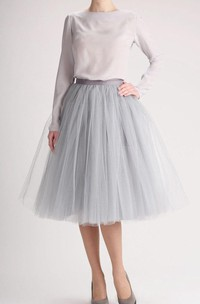 Grey Tulle Tutu Skirt Tea Length Dress