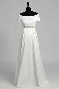 Graceful Off-the-shoulder A-line Beaded Satin Maternity Wedding Dress