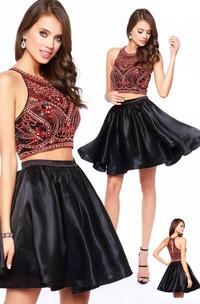 A-Line Short Scoop-Neck Sleeveless Satin Dress With Beading