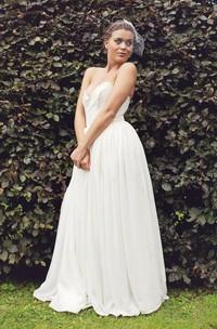 Sweetheart Empire Backless Chiffon Wedding Dress With Sash Pleats And Beading