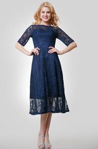Half Sleeve Lace Tea Length Dress With Jewel Neckline