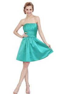 Impressive Strapless A-line Satin Dress With Pleats