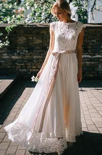 A Line Bateau Chiffon and Lace Floor-length Short Sleeve Wedding Dress with Ribbon