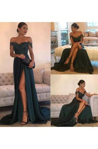 A-line Off-the-shoulder Sleeveless Floor-length Court Train Chiffon Lace Evening Dress with Split Front