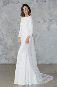 Sexy Chiffon and Tulle Long-Sleeve Bridal Gown with Deep-V Back
