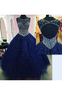 Ball Gown Bateau Sleeveless Floor-length Tulle Prom Dress with Beading and Ruching