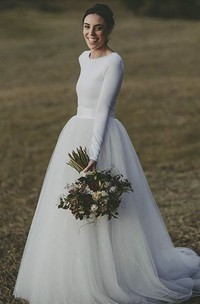 Elegant Long Sleeve Fitted Modest Jersey And Tulle Wedding Dress