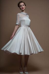 A-Line Tea-Length High Neck Sleeveless Satin Wedding Dress With Illusion