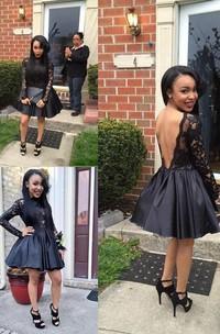 A-line Ball Gown High Neck Long Sleeve Pleats Ruching Short Mini Taffeta Lace Homecoming Dress