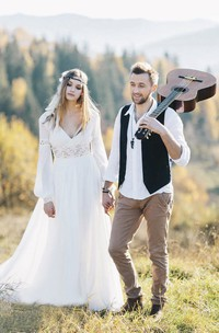Chiffon Poet Long Sleeve Bohemian Plunging Wedding Dress With Lace Details And Front Split