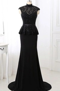 Trumpet High Neck Cap Sleeve Lace Dress With Sequins And Peplum