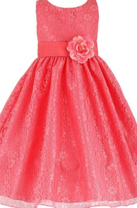 Sleeveless Scoop-neck Lace Dress With Flower