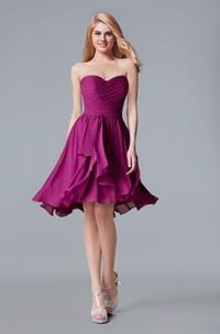 Sweetheart A-line Chiffon Short Dress With Sash