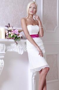 Short Strapped Lace Satin Weddig Dress