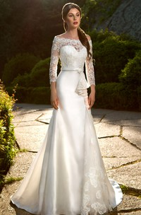 A-Line Floor-Length Off-The-Shoulder T-Shirt-Sleeve Illusion Satin Dress With Lace Appliques And Ruffles