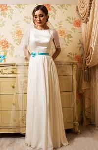 Satin Sheath Floor-Length Dress With Pleats And Bow