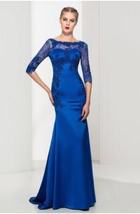 Elegant Satin and Tulle Mermaid Bateau Appliqued low-V Back Dress