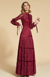 3/4 Sleeve Vintage Lace High Neck Sheath Dress With Bows Appliqued