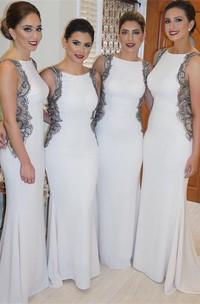 Modern Jewel Appliques Mermaid Bridesmaid Dress 2018 Sweep Train