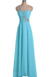 One-shoulder A-line Gown With Beaded Strap
