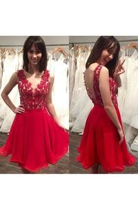 Rhinestone Sexy Backless Short A Line Chiffon Dress
