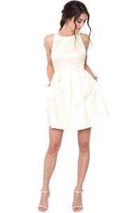 A-Line Bowed Sleeveless Jewel Mini Satin Little White Dress With Low-V Back