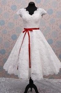 V-Neck Sleeveless Cap Lace Dress
