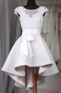 A-line Bateau Short Sleeve Ruffles Sash Ribbon High-low Satin Lace Homecoming Dress