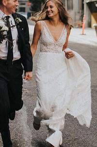 Sheath V-neck Lace Floor-length Chapel Train Sleeveless Wedding Dress