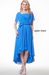 Short Sleeve Ruffled High Low Chiffon Dress With Sash