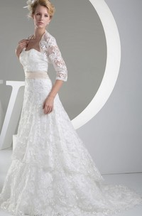 Strapless Lace A-Line Dress With Satin Waist and Bolero