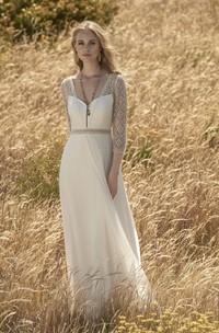 3/4 Sleeve Chiffon Elegant Wedding Dress With Lace Top And Keyhole Back