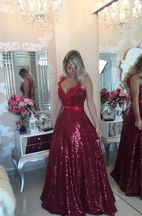 Glamorous Lace Appliques A-line Prom Dress 2018 Sequins Beadings