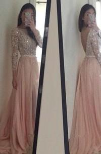 A-line Princess Scoop Chiffon Long Sleeves Applique Sweep Brush Train Dresses