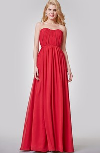 Simple Backless Ruched A-line Long Chiffon Dress