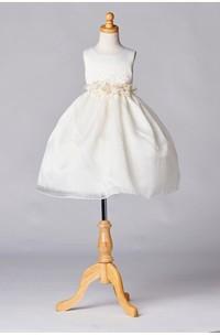Flower Girl Dress Ivory Satin Organza Layered Skirt With Flowers Waist